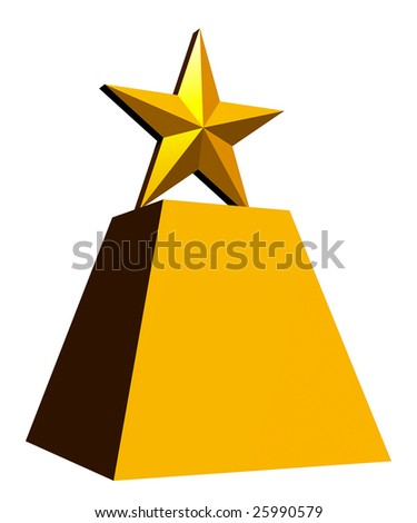 A computer-drawn image of a gold star trophy, with a white background. - stock photo