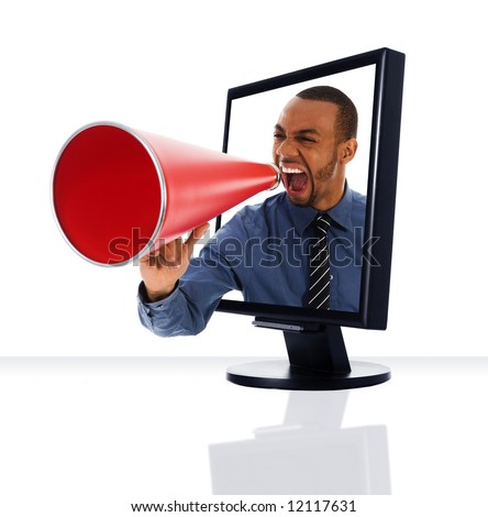 a computer flat screen monitor with a megaphone - stock photo