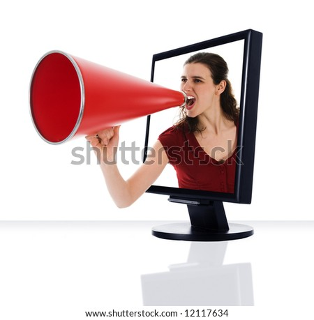 a computer flat screen monitor with megaphone - stock photo