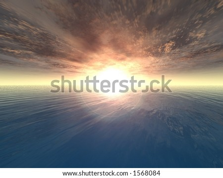 A computer generate sunset on a ocean - stock photo