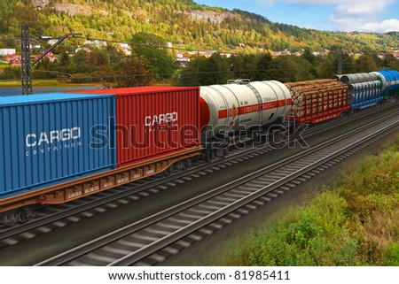 A computer generated freight train passing by mountain range - stock photo