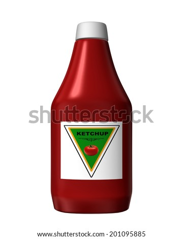 A computer generated ketchup bottle isolated on white - stock photo