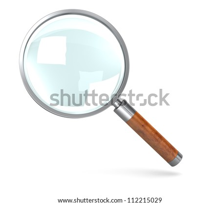 A computer generated metal magnifying glass on a white background