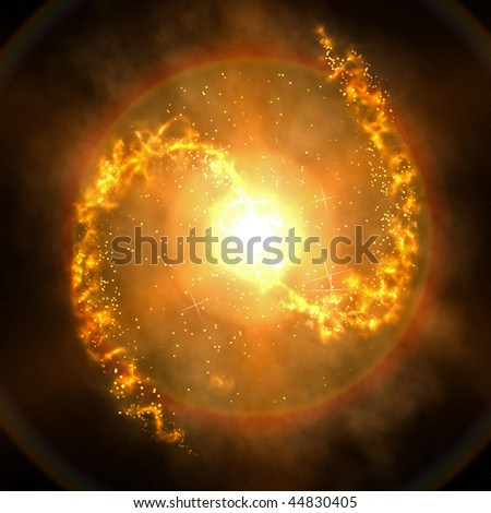 A computer graphic rendering of a barred spiral galaxy - stock photo