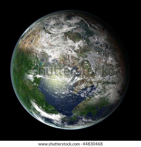 A computer graphic rendering of a possible future Earth named Pange Ultima - stock photo
