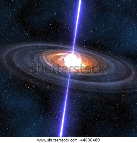 A computer graphic rendering of a pulsar