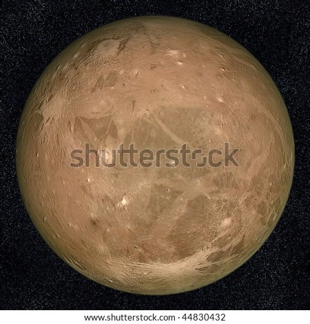 A computer graphic rendering of Ganymede, one of Jupiter's moons - stock photo