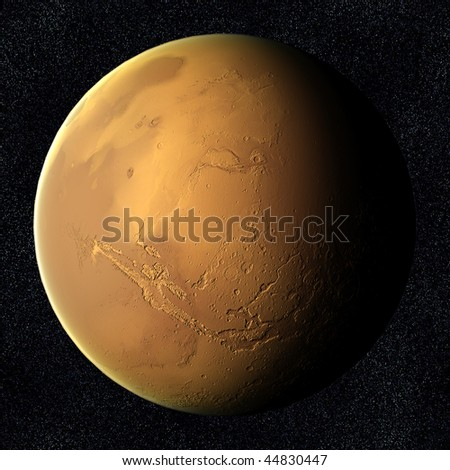 A computer graphic rendering of Mars - stock photo