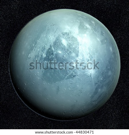 A computer graphic rendering of Pluto
