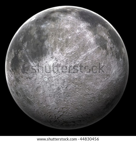 A computer graphic rendering of the Moon