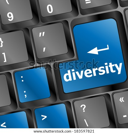 A computer keyboard with keys spelling diversity, Learn - stock photo