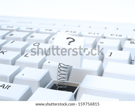 A computer keyboard with the question mark key broken  - stock photo