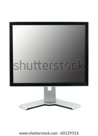 A computer monitor isolated against a white background