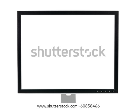 A computer monitor isolated against a white background - stock photo