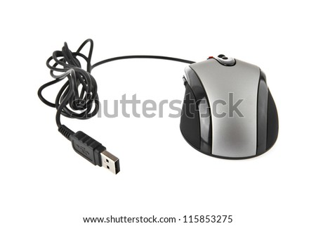 a computer mouse is isolated on a white background - stock photo
