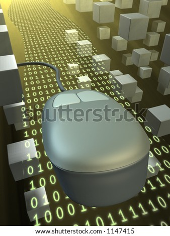 A computer mouse travelling over a binary data stream. CG illustration. - stock photo