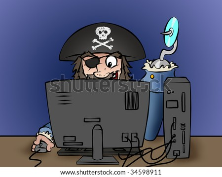 A computer pirate illegally duplicating software or music! - stock photo