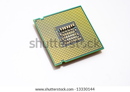 A computer processor isolated on a white background