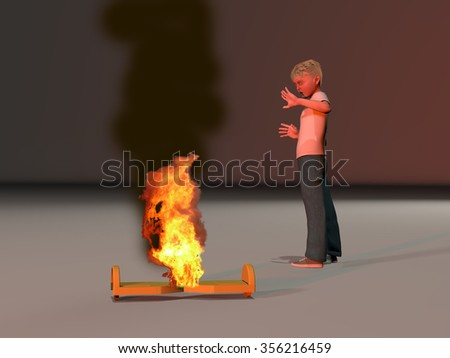 a computer rendered illustration of a boy standing over a burning hoverboard
