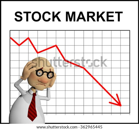 a computer rendered illustration of a cartoon character observing a stock market tumble