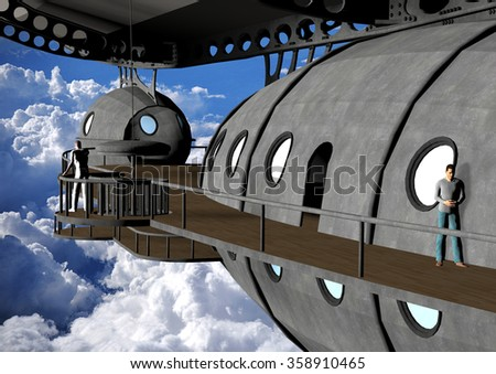 a computer rendered illustration of a vintage dirigible flying in the sky - stock photo