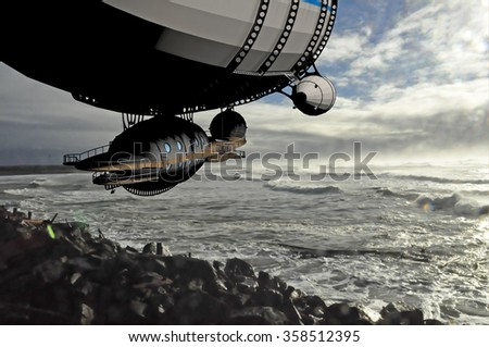 a computer rendered illustration of an old dirigible over a photo that I took of the Pacific Ocean at the Oregon coast - stock photo