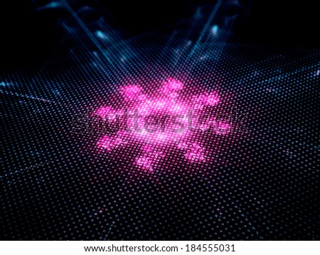 A computer virus detection symbol illustration, fractal artwork - stock photo