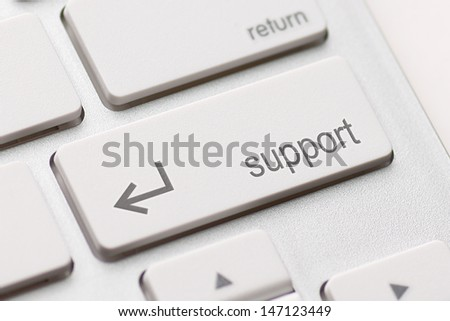 A computers support key on white keyboard