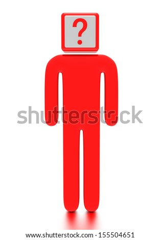 A concept graphic depicting a question mark box on top of a character. Rendered against a white background with a soft shadow and reflection.  - stock photo