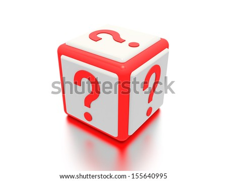 A concept graphic depicting a question mark box. Rendered against a white background with a soft shadow and reflection.