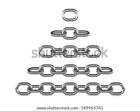 A concept graphic depicting a set of strong linked chains in varies length. Rendered against a white background with a soft shadow and reflection. - stock photo