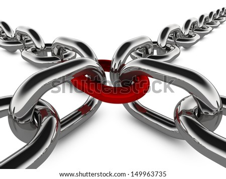A concept graphic depicting a set of strong linked chains. Rendered against a white background with a soft shadow and reflection. - stock photo