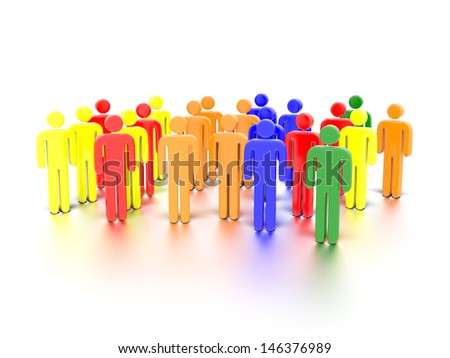 A concept graphic depicting colorful characters. Rendered against a white background with a soft shadow and reflection. - stock photo