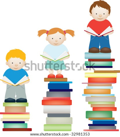 A concept illustration of children improving by reading