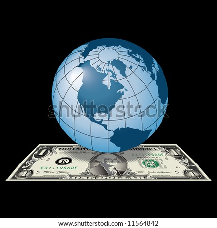 A concept image of the American dollar as the global currency. - stock photo