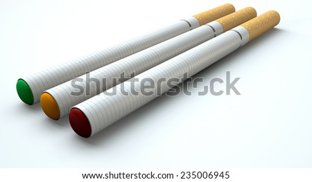 A concept image showing a close up of three regular electronic cigarettes with a glowing tips in red yellow and green lights on an isolated white studio background - stock photo