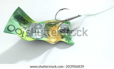 A concept image showing a one hundred australian dollar banknote used as bait attached to a treble fishhook and fishing line on an isolated white background - stock photo