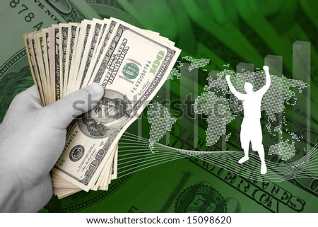 A concept image themed around money and business success. - stock photo