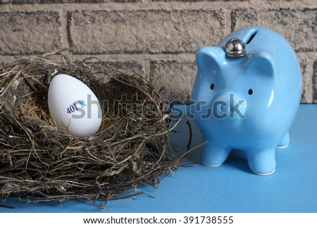 A concept image with a nest egg prepared for retirement. - stock photo