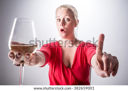 A concept of alcoholism - A young woman saying no to alcohol - stock photo