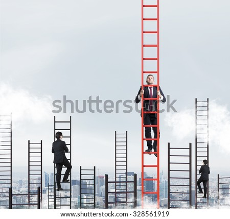 A concept of competition, and problem solving. Several businessmen are racing to achieve the highest point using ladders. New York city view. - stock photo