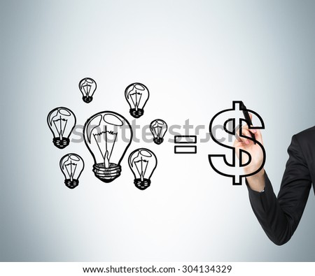 A concept of consulting services. A business woman's hand is drawing a formula where ideas are equal to money. - stock photo