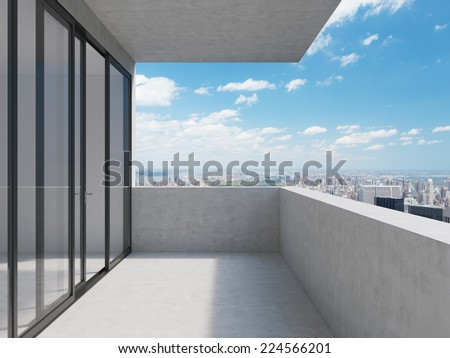 A concept of future perspectives in empty modern balcony. City view. - stock photo