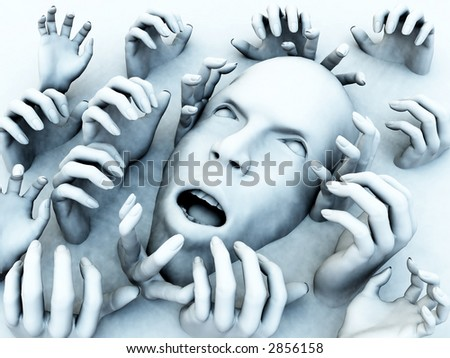 A concept of someone who is overwhelmed with pain, but it could also be a abstract nightmare. - stock photo