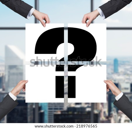 A concept of uncertainty. Question mark in a four banners. - stock photo