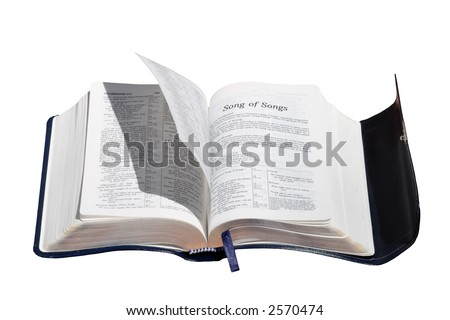 A concept photo of the Holy Spirit turning Bible pages - stock photo