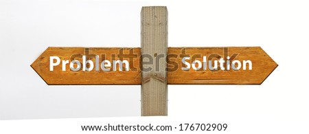 A concept signpost pointing to problem or solution - stock photo