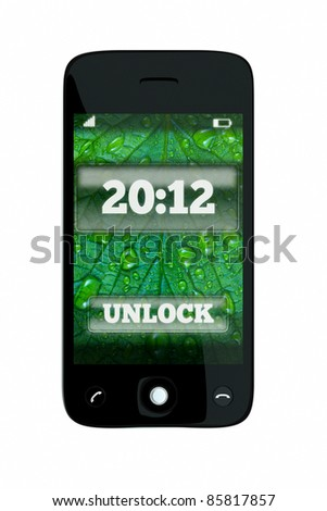 a 2012 concept, unlock the new 2012 year, single pda with color background on screen on white