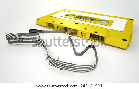 A concept view of a vintage audio cassette tape with a white label with an unraveled ribbon that splits into musical lines and notes on an isolated white background - stock photo