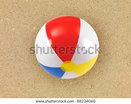 A conceptual beach image with assorted beach items - stock photo